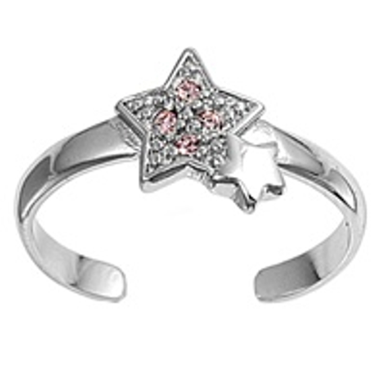 Star With Pink Cubic Zirconia And Plain Star Adjustable Toe Ring
