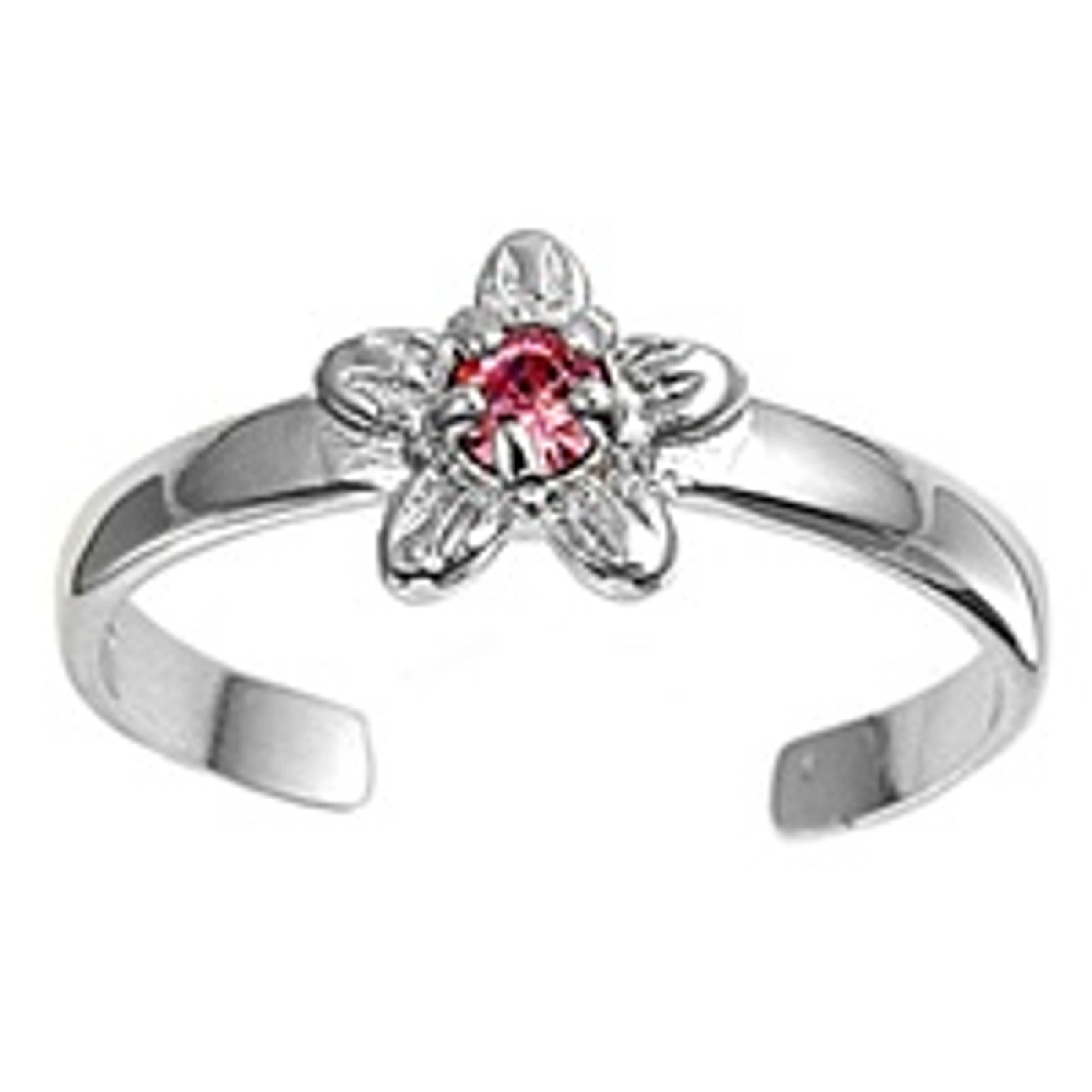 Pink Cubic Zirconia Five Petal Flower Adjustable Toe Ring