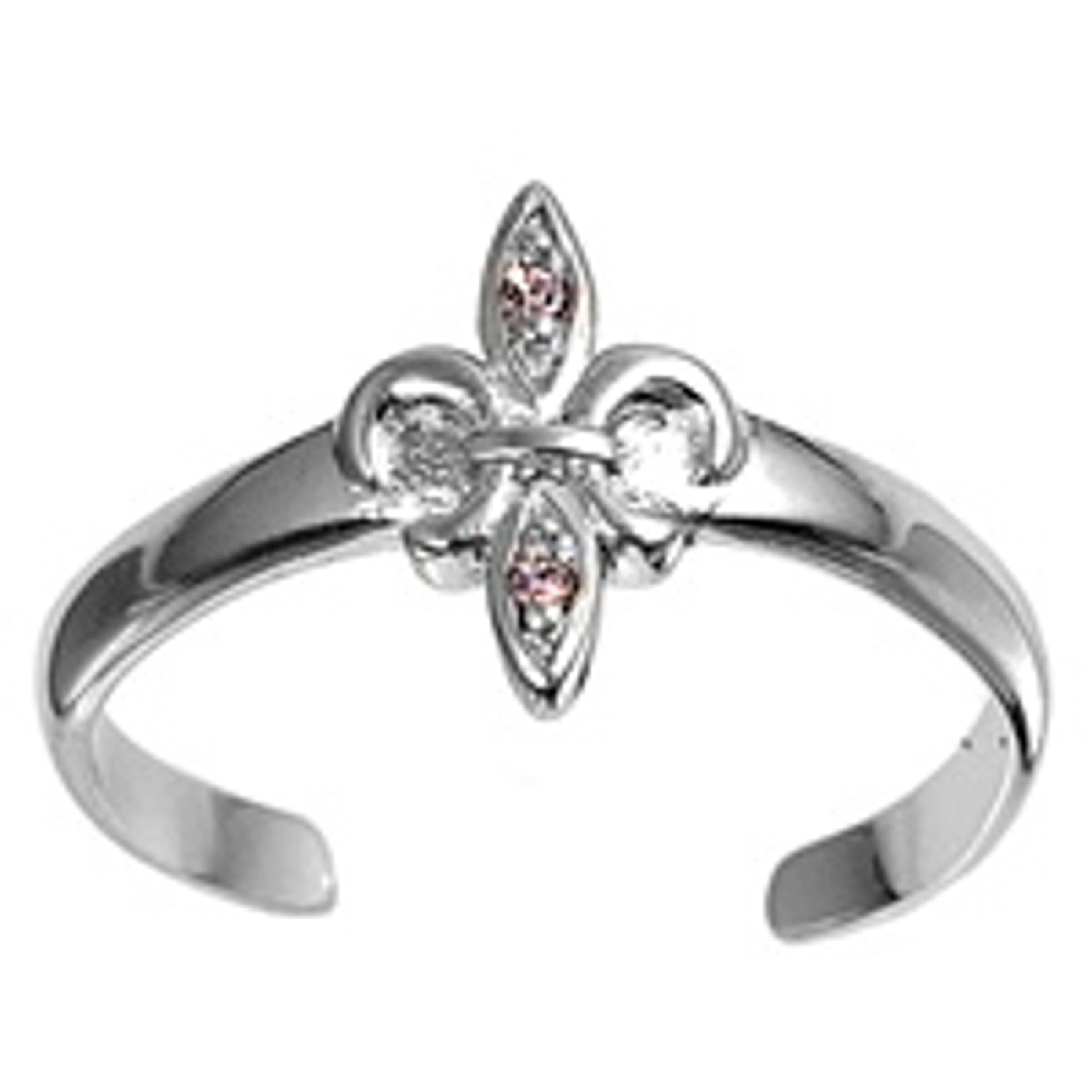 Fleur De Lis With Pink Cubic Zirconia Adjustable Toe Ring