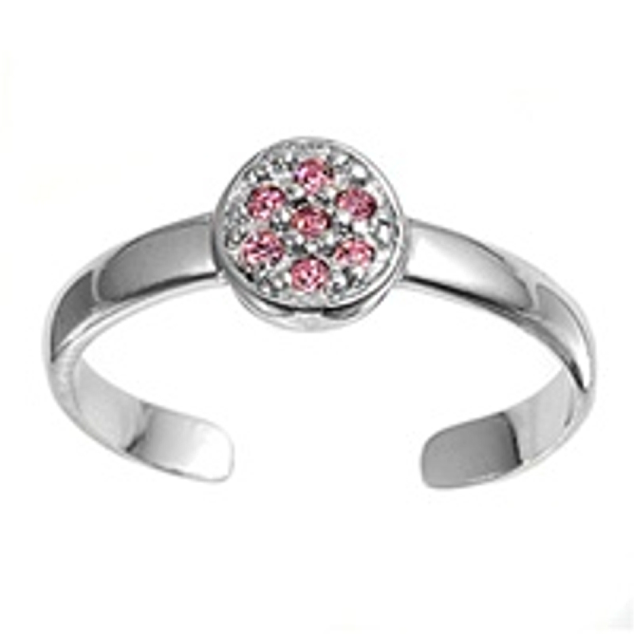 Pink Cubic Zirconia Round Top Adjustable Toe Ring