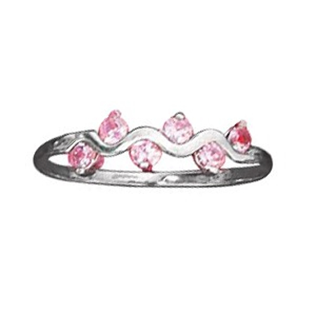 Pink Cubic Zirconia Squiggle Ring
