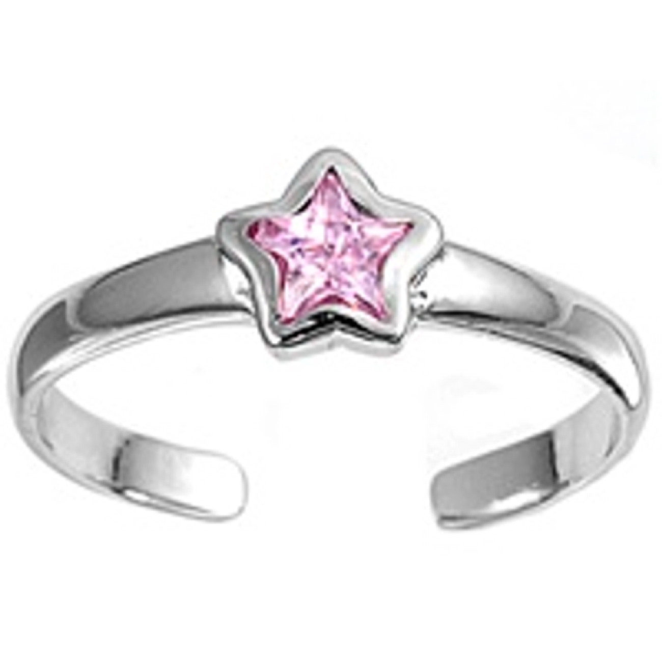 Pink Cubic Zirconia Star Adjustable Toe Ring