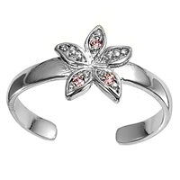 Pink Cubic Zirconia Starfish Or Flower Adjustable Toe Ring