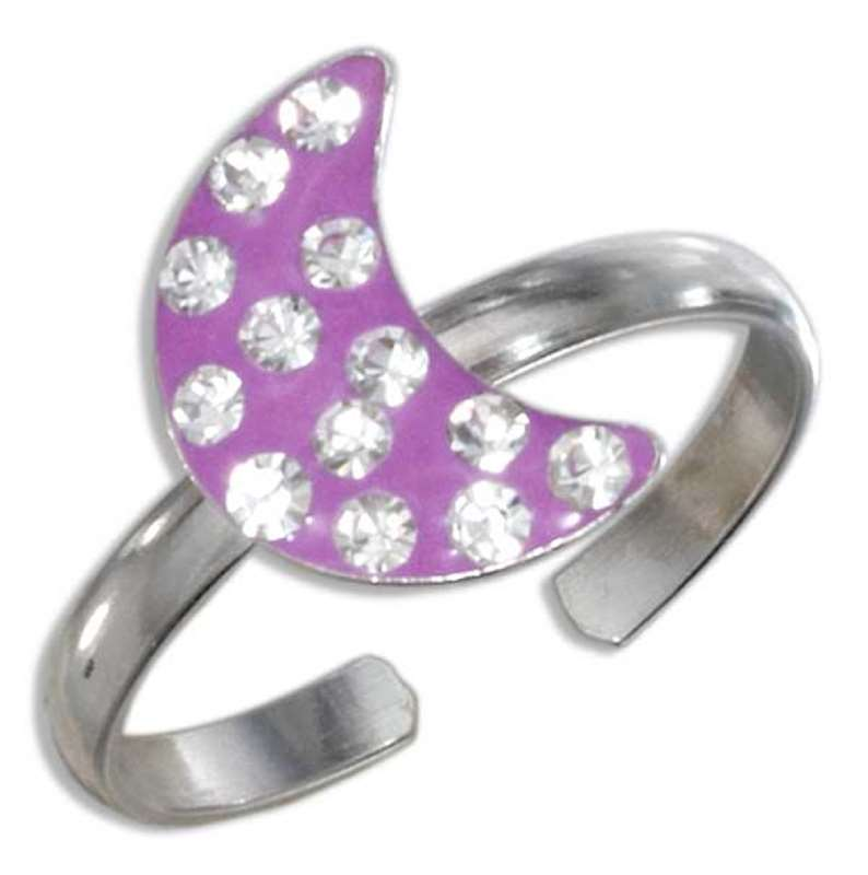 Pink Enamel Crescent Moon With Crystals Toe Ring