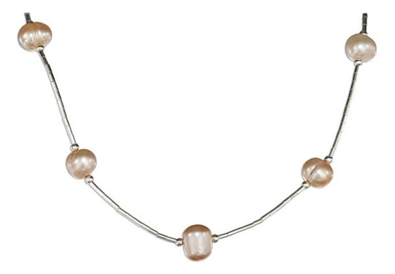 Pink Freshwater Pearls On Liquid Silver Choker Necklace