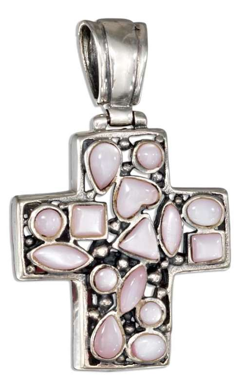 Pink Mother Of Pearl Christian Religious Cross Pendant