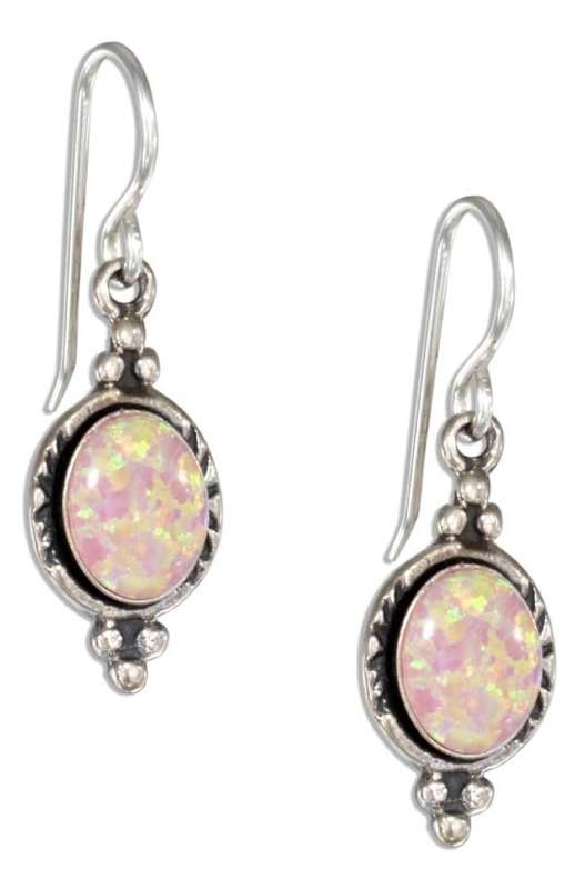 Imitation Pink Opal Hatched Border Dangle Earrings