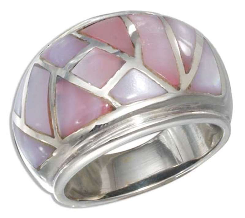 Pink Mother of Pearl Mosaic Cocktail Ring