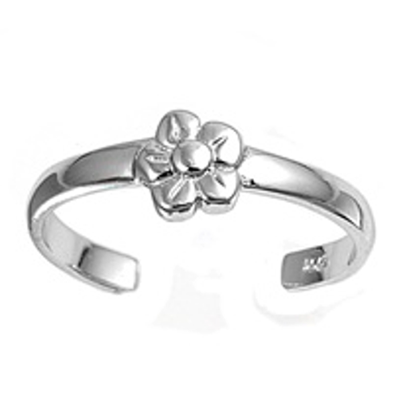 Five Petal Plain Flower Adjustable Toe Ring