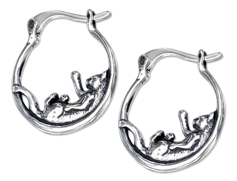 Playful Cat On Hoop Earrings