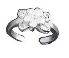 Hawaiian Plumeria Flower Leafy Base Cubic Zirconia Adjustable Toe Ring