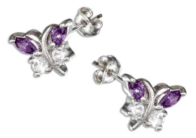 Purple Cubic Zirconia Butterfly Post Earrings
