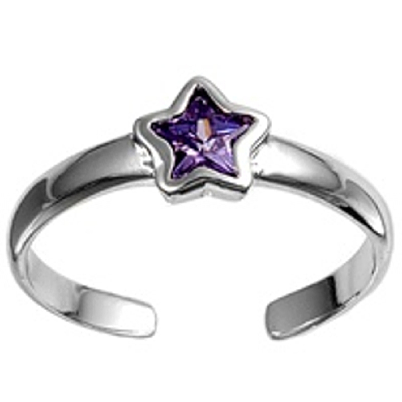 Celestial Purple Cubic Zirconia Star Adjustable Toe Ring