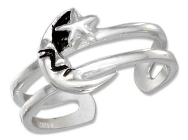 Celestial Quarter Moon Star Adjustable Toe Ring For Petite Toes