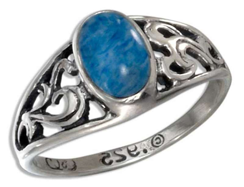 Raised Filigree Denim Lapis Ring