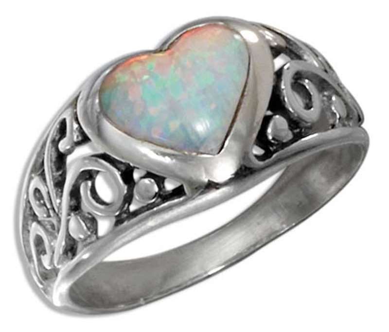 Filigree Imitation Opal Heart Ring