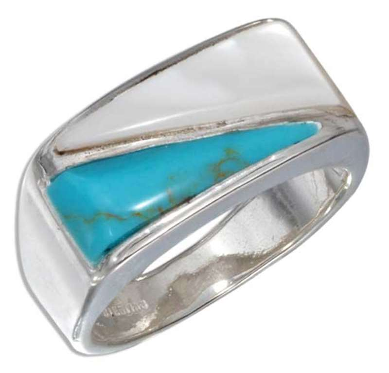 Men's Turquoise Mother Of Pearl Triangular Stone Ring