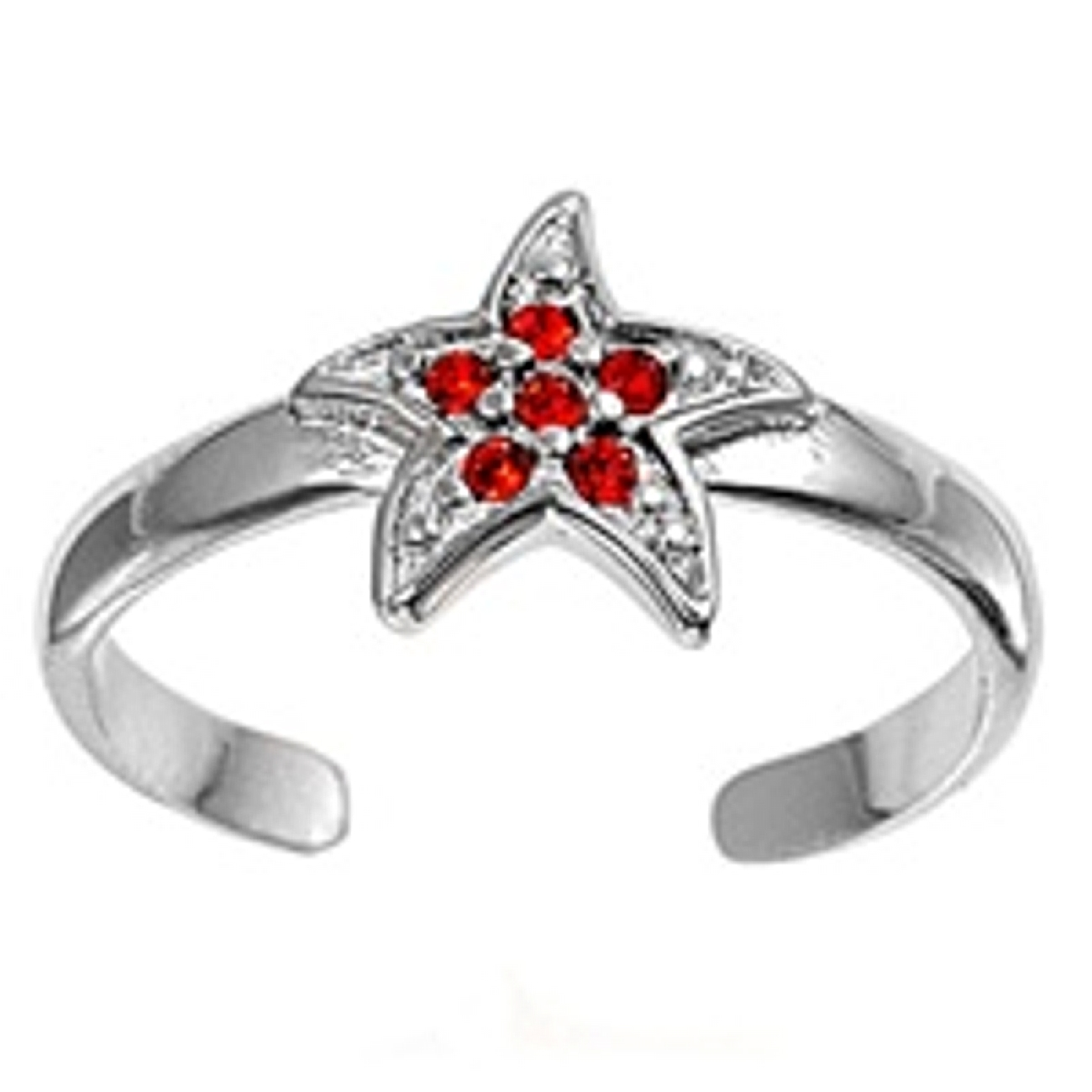 Red Cubic Zirconia Starfish Or Celestial Star Adjustable Toe Ring