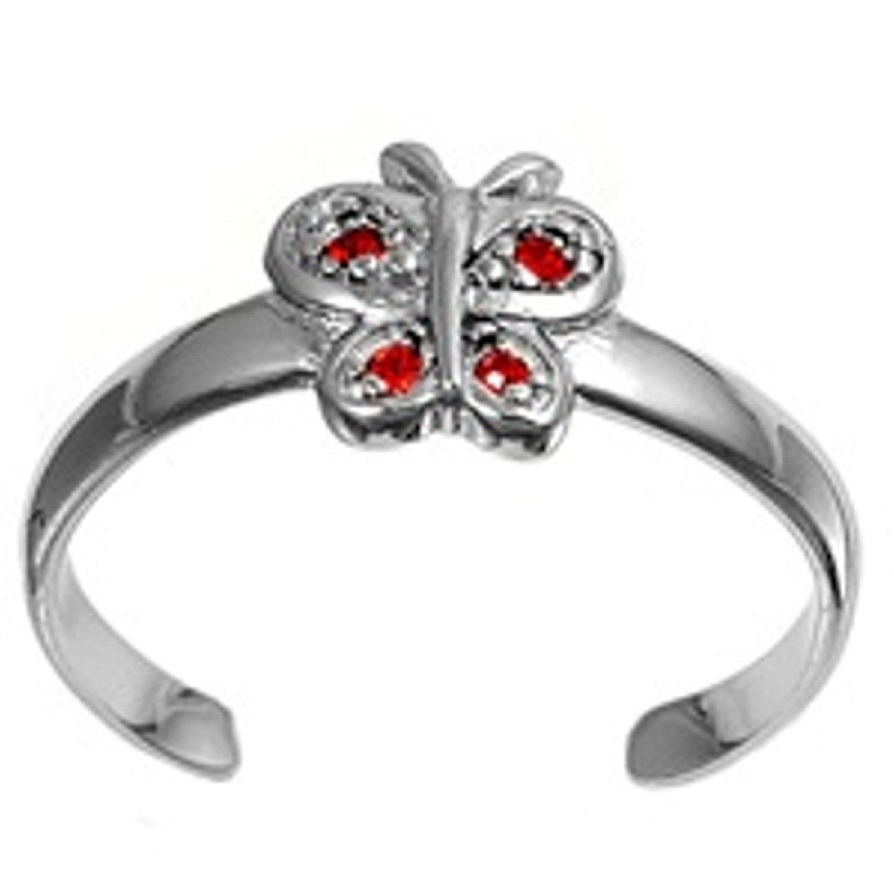 Red Cubic Zirconia Butterfly Adjustable Toe Ring