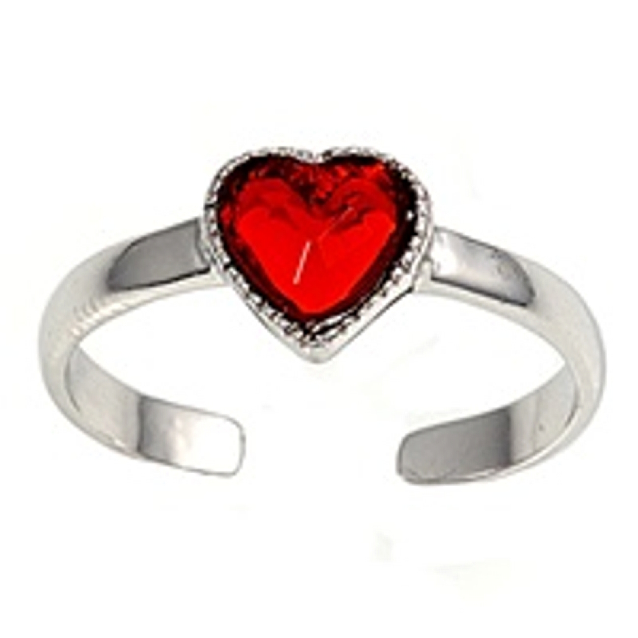 Red Cubic Zirconia Heart Adjustable Toe Ring
