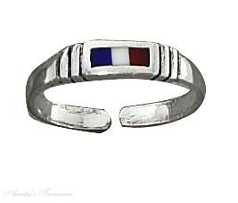 Red White Blue French Tricolour Flag Toe Ring