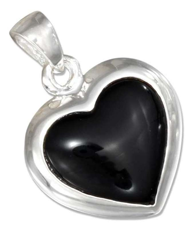 Reversible Black Onyx Mother Of Pearl Heart Pendant