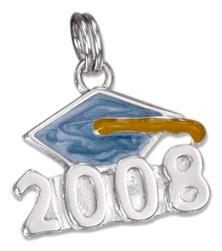 Enameled Graduation Mortarboard Cap Class Of 2008 Charm