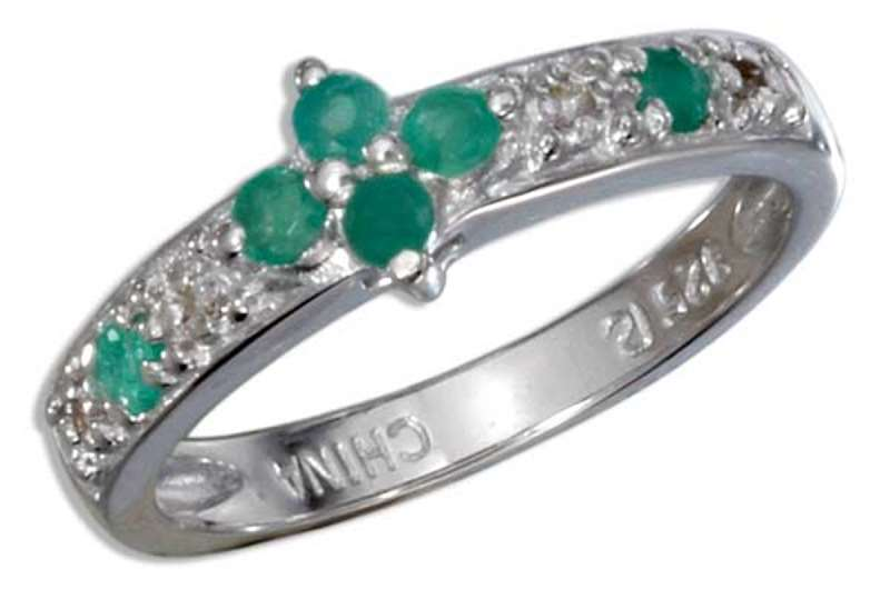 Emerald Diamond Accent Rose Cut Ring
