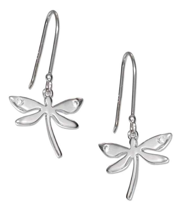 High Polish 17mm Wide Dragonfly Cubic Zirconia Dangle Earrings