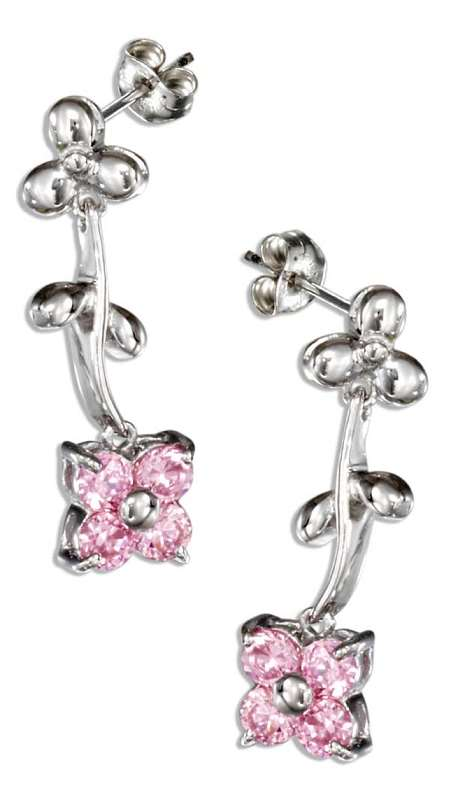 Moveable Pink Cubic Zirconia Flower Post Drop Earrings