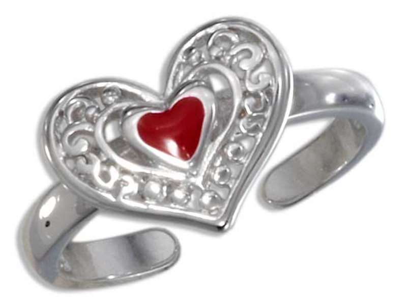 Scrolled Red Heart Toe Ring