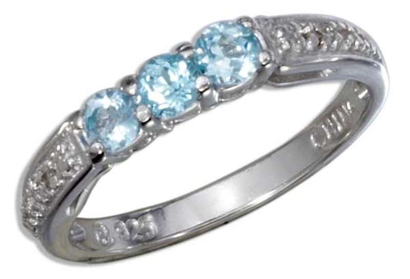 3 Three Stone Blue Topaz Stones Ring