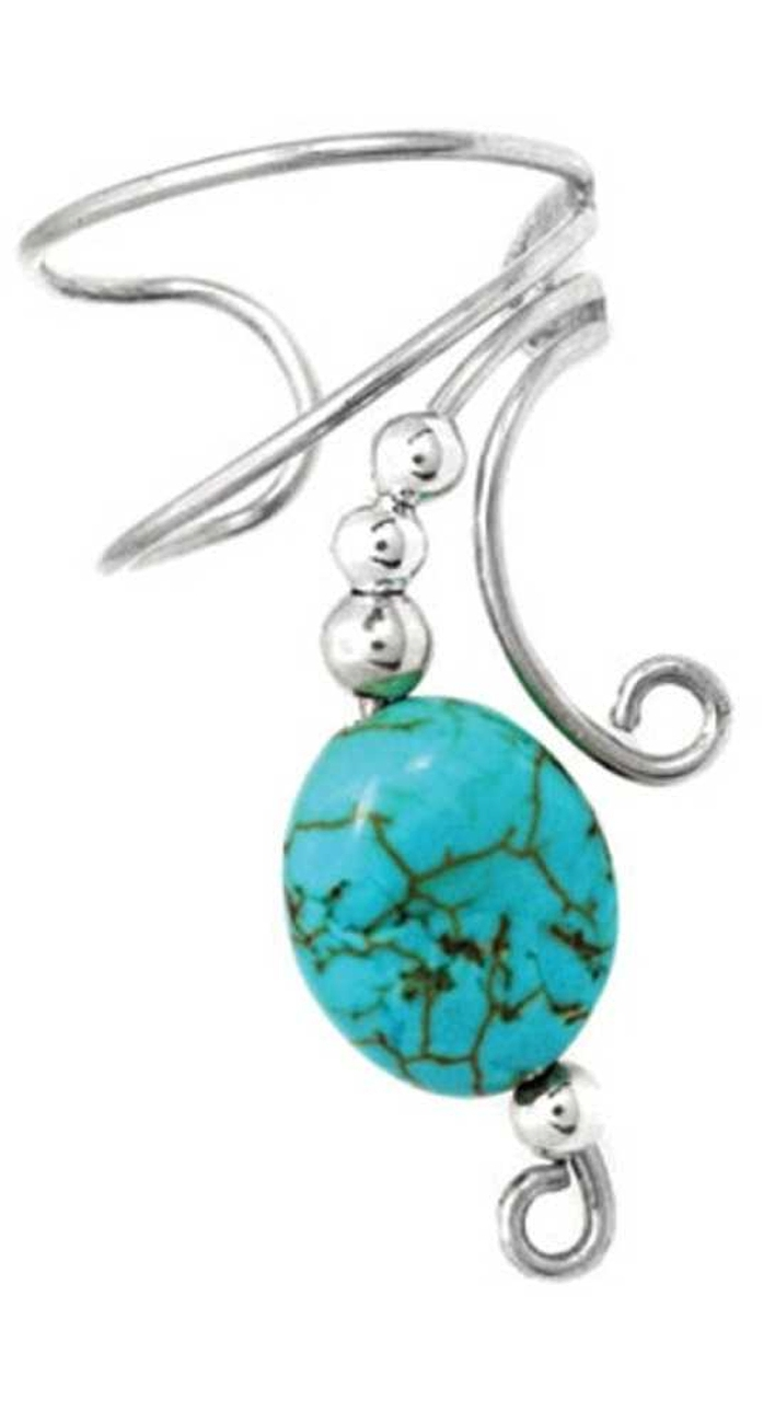 Right Only Turquoise Oval Stone Wave Ear Cuff Wrap