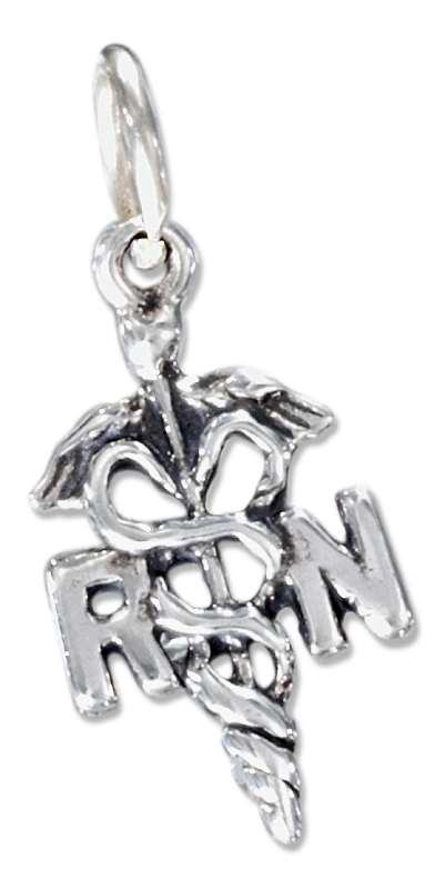 RN Registered Nurse's Medical Symbol Charm With Caduceus
