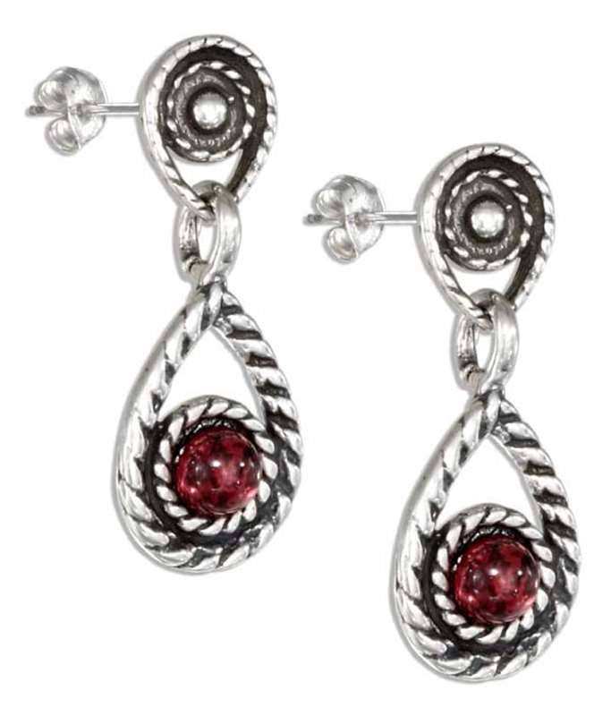 Roped Double Teardrop Post Drop Earrings Round Garnet Cabochon