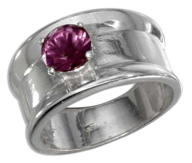 Wide Band Round Amethyst Solitaire Ring