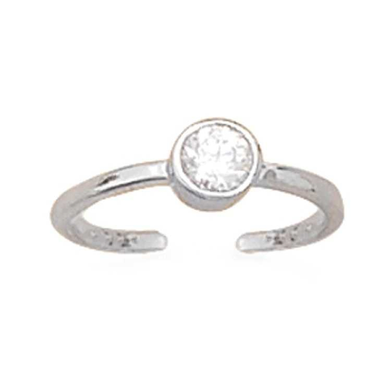 Round Solitaire Cubic Zirconia Adjustable Toe Ring