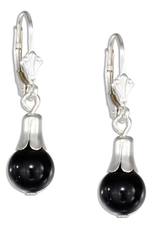 Black Onyx Drop Leverback Earrings