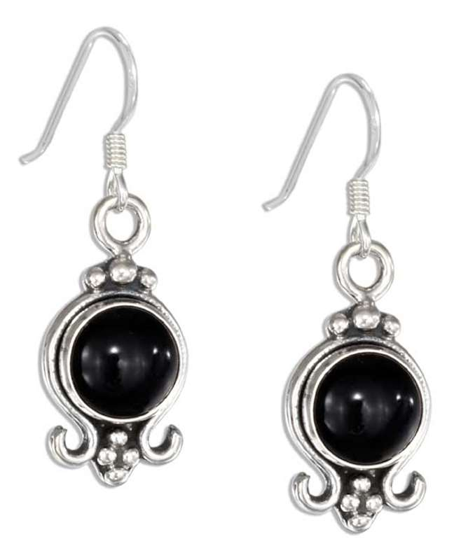 Round Black Onyx Dangle Earrings
