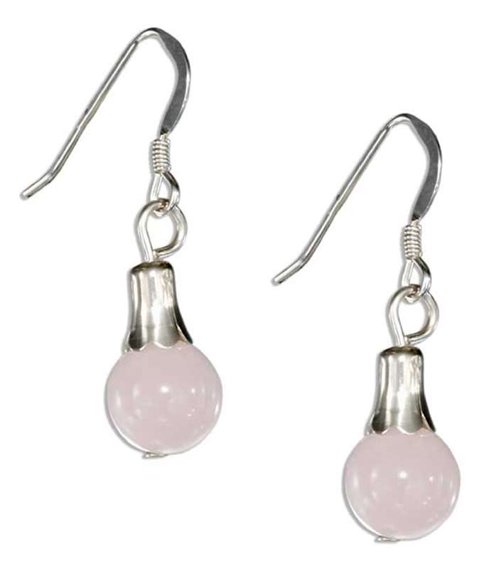 Pink Rose Quartz Dangle Earrings
