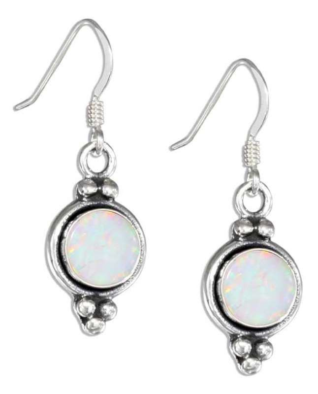 Ea 1857 Imitation Opal Concho Dangle Earrings