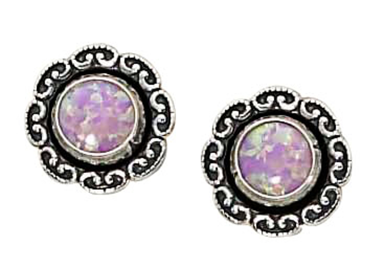 Synthetic Pink Opal Flower Concho Dangle Earrings