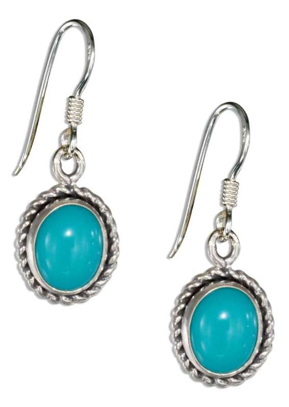 Turquoise Concho Roped Edge Dangle Earrings