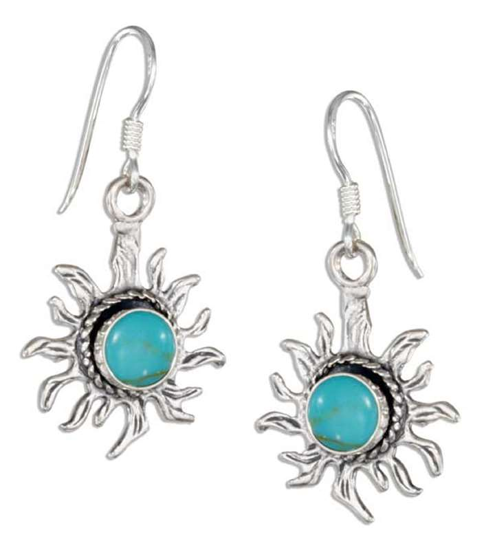 Turquoise Sunface Dangle Earrings
