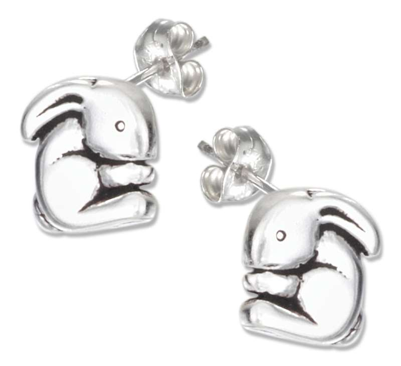 Rounded Rabbit Post Earrings