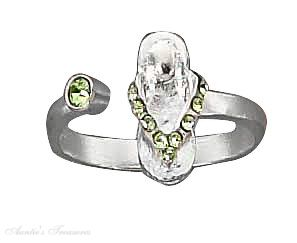Green Crystal Flip Flop Toe Ring