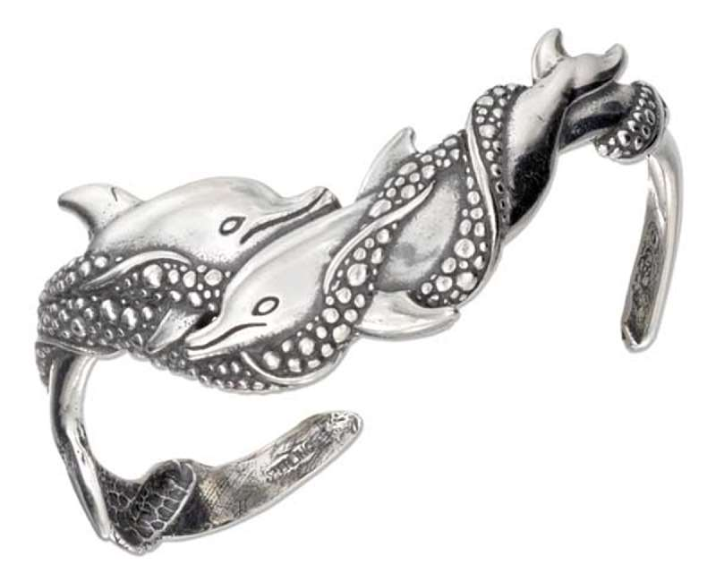 2 Double Swimming Dolphin Cuff Bracelet