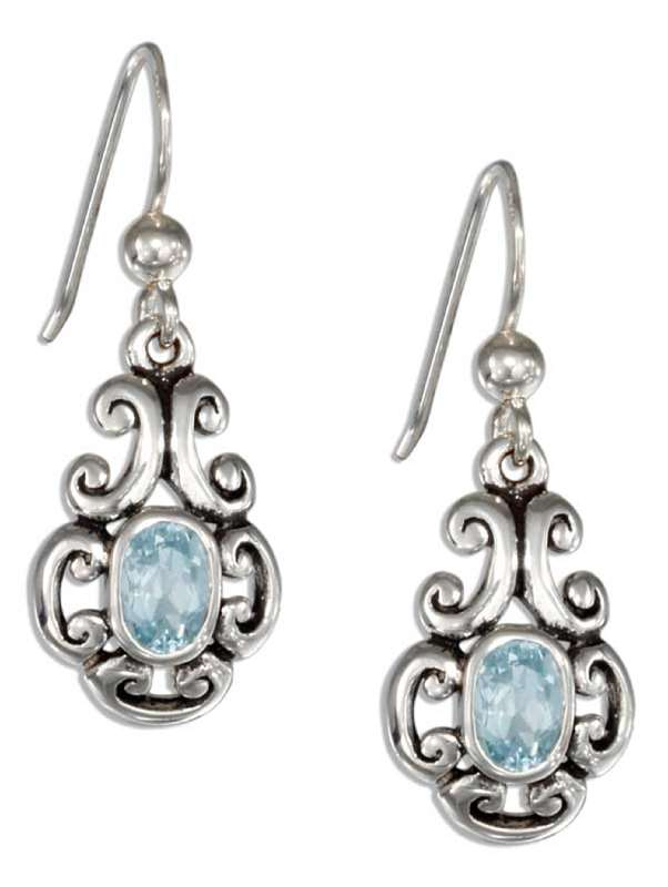 Scroll Design Blue Topaz Stone Ball Earrings