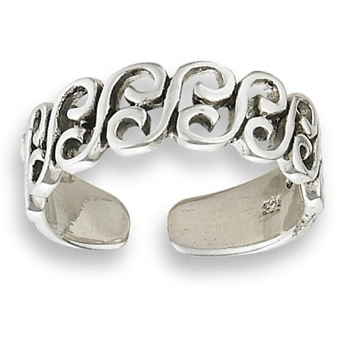 Men's Sterling Silver Beach Ocean Waves Adjustable Toe Ring