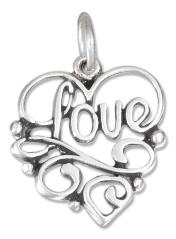 LOVE Word Heart Design Charm